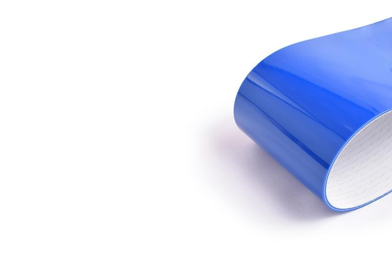 correia sanitária de duas lonas em PVC azul com tecido antiestático e 3mm