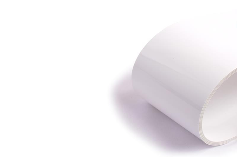 correia sanitária de três lonas em PVC branco com tecido antiestático