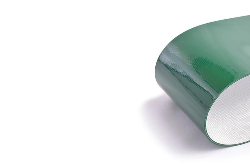 correia de duas lonas em PVC verde com 3mm flexível na trama